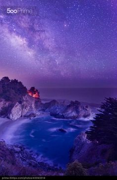 McWay Falls under galaxy - stock photo