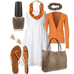 White dress with orange accessories