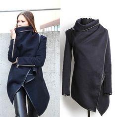 Fashion Solid Color Irregular Hem Woolen Trench Coat - Coats - Clothing