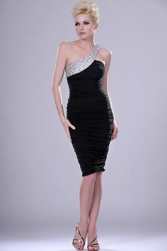 Fashion Trends, Silver Rhinestones Ornaments One Shoulder Knee Length Formal Black Dresses With Front Slings Gold High Heels: Be Elegance with the Formal Black Dresses