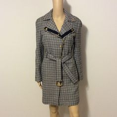 "Gucci Moto gold zipper wool coat Beautiful houndstooth black, gray & white with black lining. 100% lambs wool lining is 100% cupro. Jacket was made in Italy. Length is 35"", sleeves measure 25""  armpit to armpit is 19"", size 42 or US 6 Gucci Jackets & Coats"