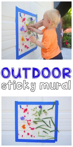Outdoor Sticky Mural for Toddlers – Jenae {I Can Teach My Child!} Outdoor Sticky Mural for Toddlers Outdoor Sticky Mural: Such a fun outdoor activity for toddlers and preschoolers that uses natural materials to create a beautiful masterpiece! Activities For One Year Olds, Outdoor Activities For Toddlers, Outside Activities, Toddler Learning Activities, Nature Activities, Infant Activities, Kids Outdoor Activities, Art For Toddlers, Physical Activities For Preschoolers