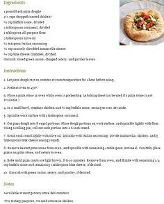 Buffalo Chicken Pizzas  http://www.teatimemagazine.com/buffalo-chicken-pizzas-recipe/