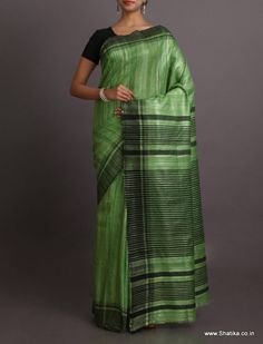 Aliya Plain Green With Stripe Black Pallu Border #BhagalpuriSilkSaree