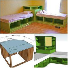 DIY Twin Corner Bed with Storage