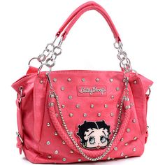 """Betty Boop® officially licensed   - Soft Body leather-like material  - Dual studded shoulder straps 7"""" drop length   - Top zippered opening    - Lined interior with side zippered pocket and cell phone pouch  - Back zippered pocket   Approx. Dimensions: 16""""W x 9""""H x 4""""D"""