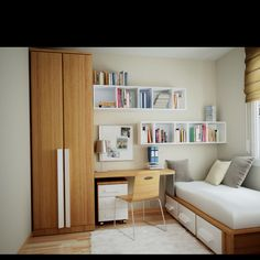 Guest bedroom and office, great way to convert a small space into a multipurpose room. I definitely like the idea of bookshelves mounted to the wall.