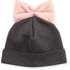 Federica Moretti Knit Beanie w/ Nylon Bow ($26) ❤ liked on Polyvore featuring accessories, hats, beanie, head, blue, knit hat, knit beanie caps, knit beanie hats, beanie hats and knit beanie