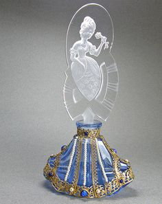 Czech Jeweled Perfume Bottle Blue with Lady Stopper, This perfume was made in Czechoslovakia in the 1920-30s era.