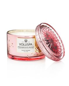 Voluspa Prosecco Rose Corta Candle.  With key fragrance notes of Sparkling Pink Prosecco and Rose petals Scent family - Floral. 11 oz and 60 hour burn time. Price: $26.00