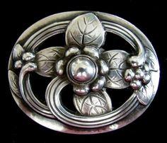 Georg Jensen - Sterling Oval Floral Brooch