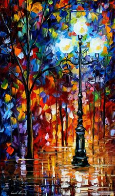 Blue Lights — PALETTE KNIFE Oil Painting On Canvas By Leonid Afremov studio