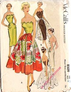 1951, this style would make a really cute wedding dress for summer...... all white with a lace skirt overlay! McCalls patterns were always my favorite!