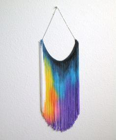 Splash Dyed HAND PAINTED Fringe Bib Yoke Collar Necklace in Multi Rainbow