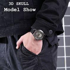 Fashion SKULL Men Watches Top Brand Luxury Retro Leather Casual Quartz Wrist Watches Men Male Date Clocks Relogio Masculino-in Quartz Watches from Watches on AliExpress Wrist Watches, Watches For Men, Skull Model, Quartz Watches, Clocks, 3d, Retro, Luxury, Casual