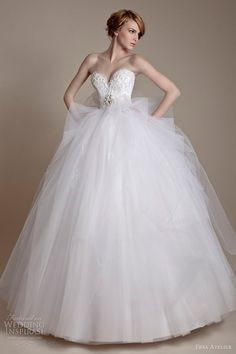 gathered fine tulle below strapless french lace and tulle gown