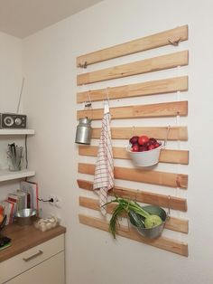 17 ikea hacks that will totally revamp your kitchen slat wall cookware and hanger. Black Bedroom Furniture Sets. Home Design Ideas