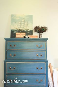 Beautiful piece using MMS milk paint in Flow Blue with white wax and gilding wax.