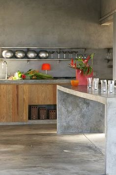 concrete kitchen island #concrete