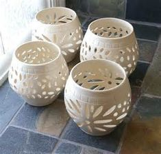 Image Detail for - Handmade Clay,Stoneware, Pottery, White Wedding Candle Luminary, Cross ...
