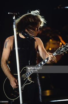 Singer Jon Bon Jovi of Bon Jovi performs on stage at Wembley Stadium in London, England in June 1995.