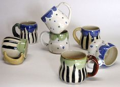 Amazing little ceramic oddities made by Dawn Vachon Ceramic Painting, Ceramic Art, Made By Dawn, Ceramic Pottery, Decor Interior Design, Flora, Mosaic, Mugs, Ornaments
