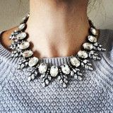 Vintage Inspired Clear Crystal Statement Necklace - MOD&SOUL Fashion Clothing and Jewelry $25