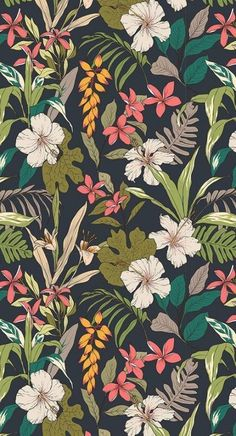 illustration Trendy wallpaper pattern floral tropical prints ideas Breaking t Trendy Wallpaper, Pretty Wallpapers, Aesthetic Iphone Wallpaper, Aesthetic Wallpapers, Wallpaper Backgrounds, Dark Wallpaper, Floral Wallpapers, Vintage Wallpapers, Simple Wallpapers