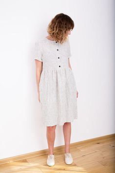 Striped Linen Dress  Black and White Linen Dress  Organic