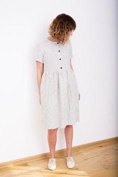 Vestido rayas ropa vestido  vestido de lino blanco y negro