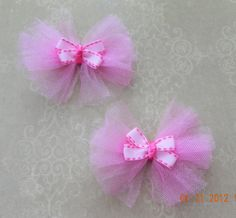 Tutu Cute Pink Tulle Hair Bows- For girl baby, toddler, child