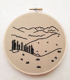 Forest Mountain Tree Landscape Hand Embroidery Country Nature Fiber Art Minimalist Embroidery Landscape Embroidery Decor Sailor Jerry Art #HandEmbroidery