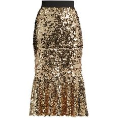 Dolce & Gabbana Sequin-embellished midi skirt (2.990 BRL) ❤ liked on Polyvore featuring skirts, bottoms, gold, dolce gabbana skirt, brown skirt, fishtail midi skirt, glitter midi skirt and fish tail skirt