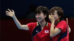 Kasumi Ishikawa and Sayaka Hirano of Japan celebrates during Women's Team Table Tennis semifinal match against team of Singapore on Day 9.
