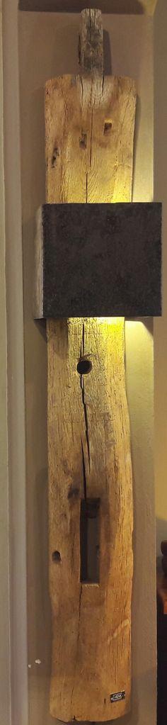 BY-HENK   Wandlamp sloophout eiken-ijzer