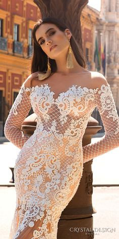 crystal design 2017 bridal long sleeves off the shoulder sweetheart neckline elegant fit and flare lace wedding dress sheer low back chapel train (maricol) zv