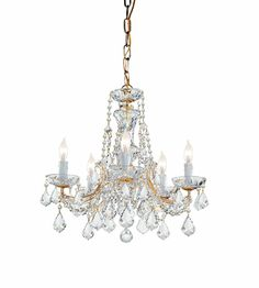 Lighting New York | Crystorama Lighting Maria Theresa 5 Light Chandelier in Gold & Majestic Wood Polished - Clear 4476-GD-CL-MWP