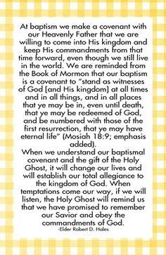 What covenants did I make at baptism
