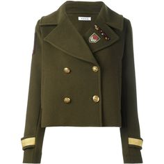 P.A.R.O.S.H. 'Lusixy' jacket ($410) ❤ liked on Polyvore featuring outerwear, jackets, coats, tops, coats & jackets, green, green jacket and brown jacket