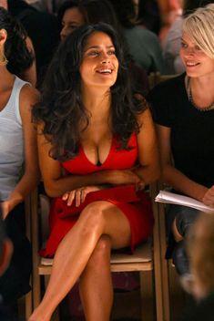 Salma Hayek bosom in a low cut red dress