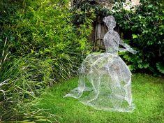 How to Make Chicken Wire Ghosts   eHow Chicken Wire Art, Chicken Wire Sculpture, Chicken Wire Crafts, Wire Art Sculpture, Paper Mache Sculpture, Abstract Sculpture, Garden Sculpture, Bronze Sculpture, Ghost Decoration