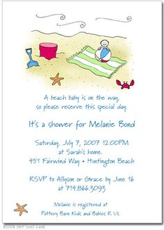Cards   Baby Shower Invitations   Beach Baby