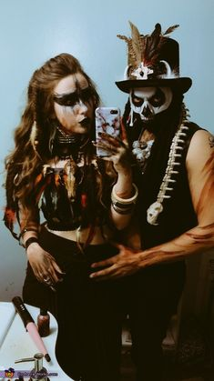 My boyfriend and I are dressed as a voodoo couple. I'm a voodoo priestess and he is a witch doctor. Halloween is my favorite time of year and I always go all out, as I am also a makeup artist! Coming up with unique concepts. Photo 2 of Doctor Halloween Costume, Scary Couples Halloween Costumes, Voodoo Halloween, Halloween Makeup Witch, Halloween Costume Contest, Halloween Looks, Couple Costumes, Halloween Dress, Creepy Halloween