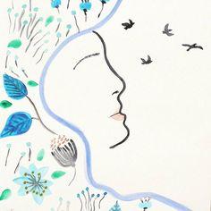 """Au gré du vent"" illustration 31*42 prix:15euros# aquarelle#watercolor#illustrations#hijabifashion#hijabistyle#creativemuslimwomen#tunisie#zarzis"