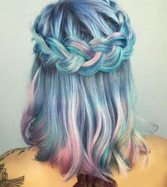 Gorgeous mermaid blue pink & teal hair with beautiful braided crown :) perfect hairstyle Awesome & crazy hair color dyes ideas Beautiful and unique hair color Hair styles to try Hair inspiration Dyed hair care & tips at home Trending in Hair & Dye My Hair, Mermaid Hair, Mermaid Style, Cool Hair Color, Pretty Hairstyles, Perfect Hairstyle, Hairstyle Ideas, Stylish Hairstyles, Fashion Hairstyles