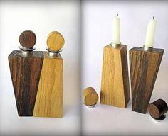 Modern wooden candlesticks Art Sculpture Men & Woman.
