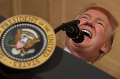 """Donald Trump delivers remarks during a Made in America product showcase in the East Room of the White House July 17, 2017  The World must learn a huge lesson from this misguided, head-strong, unethical clown! Like a bull """"on the loose"""" Trump can be highly destructive & tactless - the proverbial """"bull in a china shop"""" if ever there was !"""