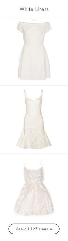 """""""White Dress"""" by varrica ❤ liked on Polyvore featuring dresses, vestidos, short dresses, ivory, love dress, short ivory dress, cold shoulder dresses, mini dress, winter white dress and short dress"""