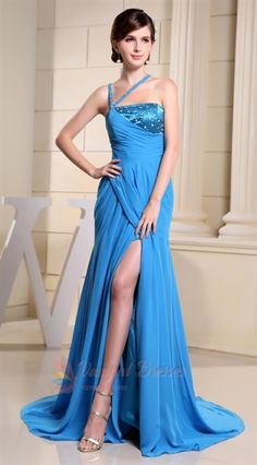 Royal Blue Halter Maxi Dress With Slits,Royal Blue Dress With Train  $155
