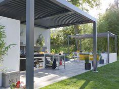 Ambiance tamisée, la tonnelle fait son entrée | Leroy Merlin Interior Exterior, Interior Design, Pergola, Design Jardin, Garden Canopy, Go Outside, Garden Inspiration, Barbecue, Solar